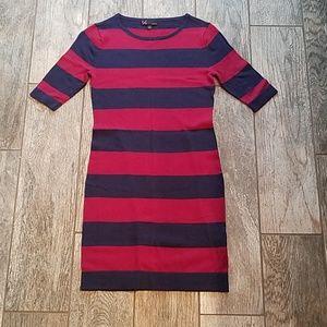 Bodycon Burgandy and navy  mini sweater dress